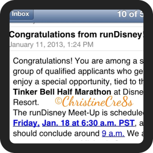 Confirmation email received from runDisney